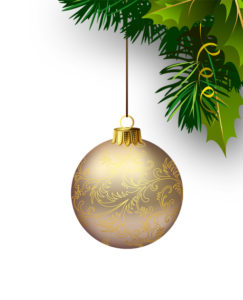 Christmas bauble and holly