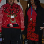 Student with Christmas jumper at school concert