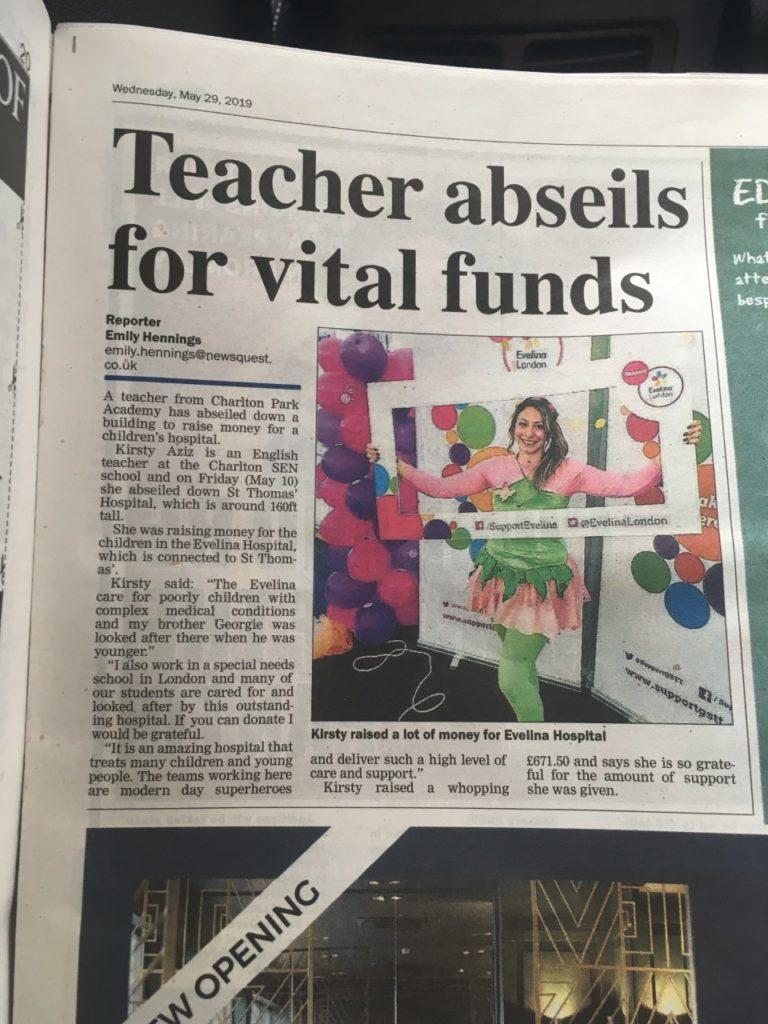 Teacher abseils article