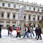 Students on their way into the Royal Academy