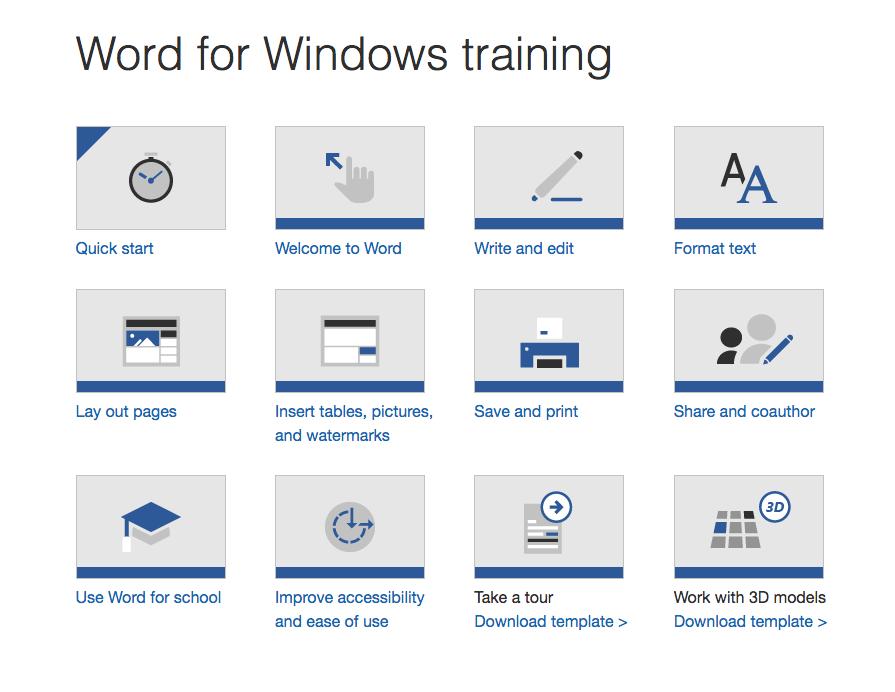 Microsoft training page