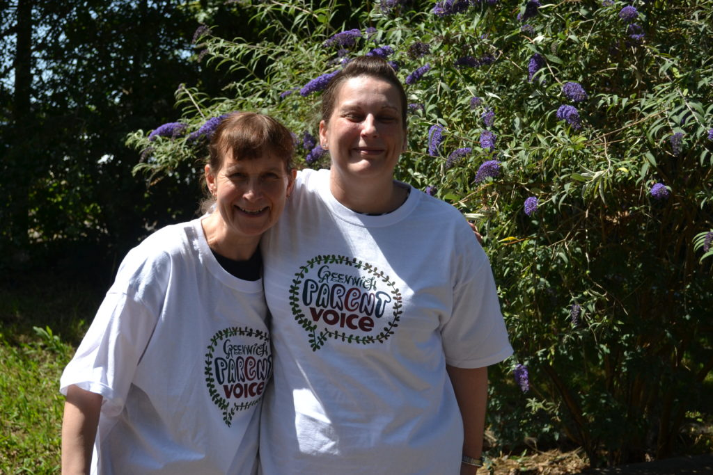 Two women wearing tshirts