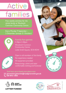 Poster for family activities in Woolwich