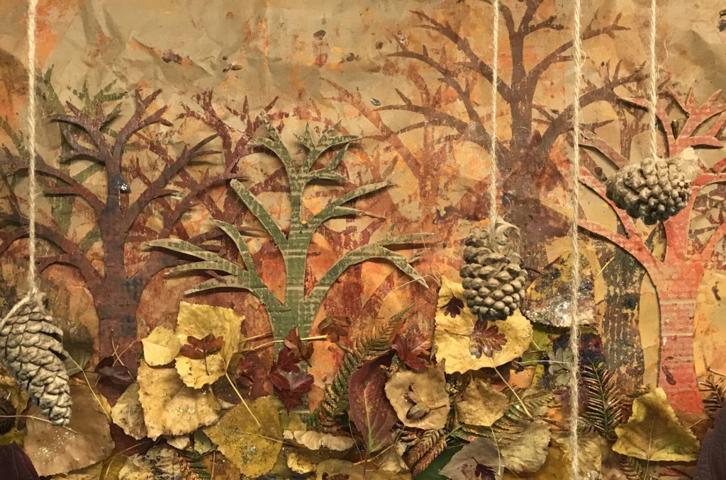 Autumn collage with mon printing and natural resources