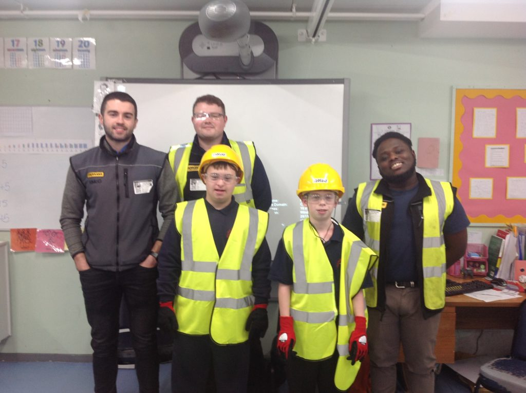 Students with builders
