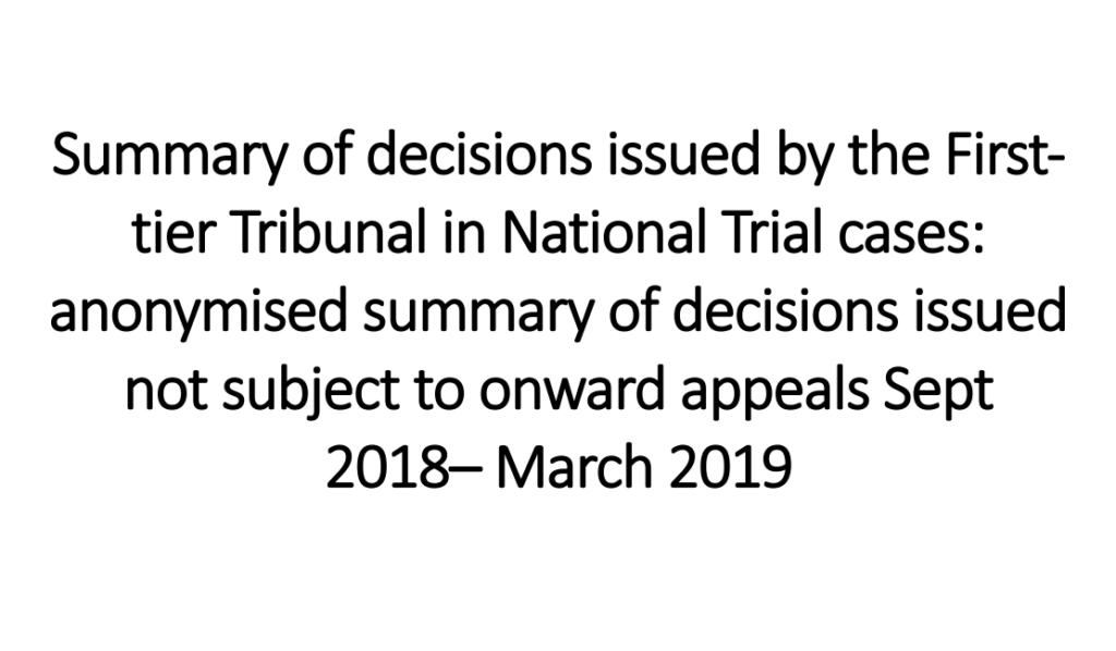 Text about First Tier Tribunal in National Trial