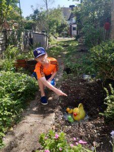 Boy in garden with pond