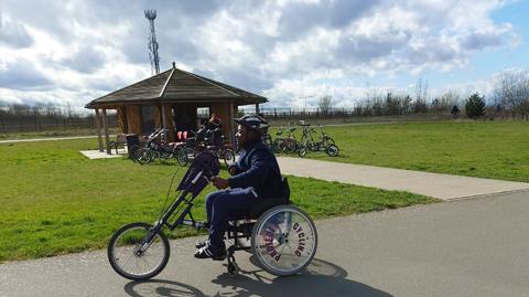 Boy on an accessible bike
