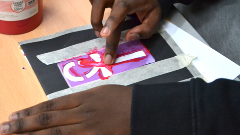 Hand painting over a stencil