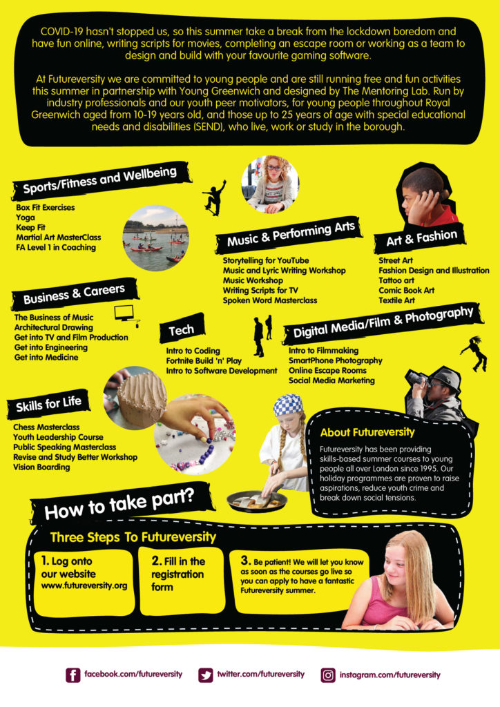 Black and yellow poster with text about summer online activities