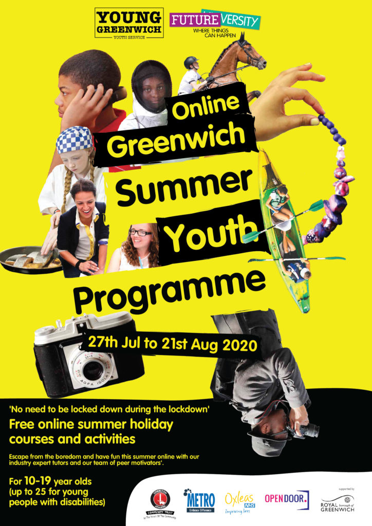 Black and yellow poster advertising online summer activity
