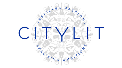City Lit logo with grey images of study icons