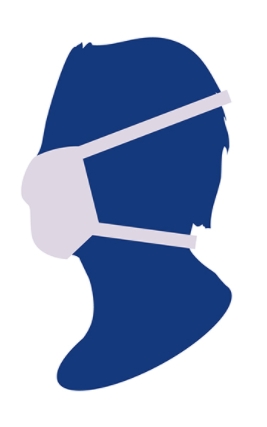 Illustration of blue head with face mask
