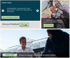 Images of people in boxes. Woman in hijab and young boy and three women holding medlas