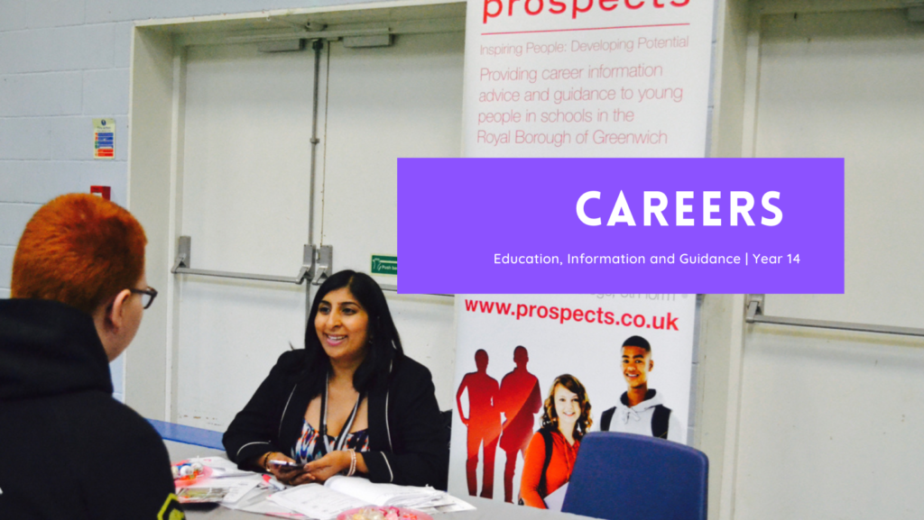 woman talking to a boy with banner in background and text that says careers