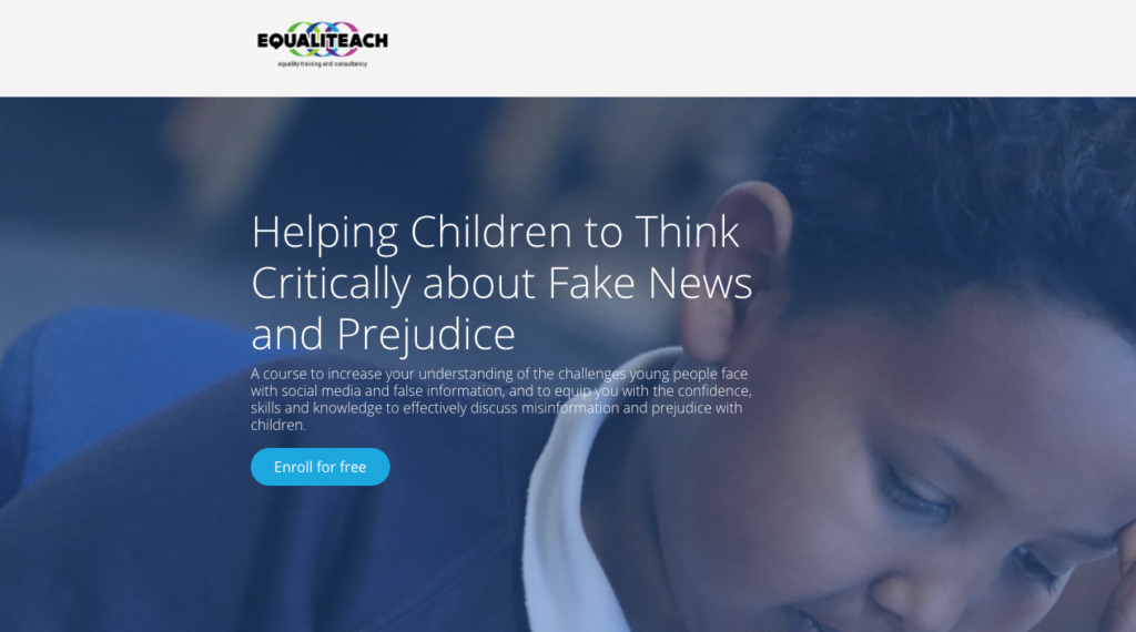 Graphic with child and text about critical thinking