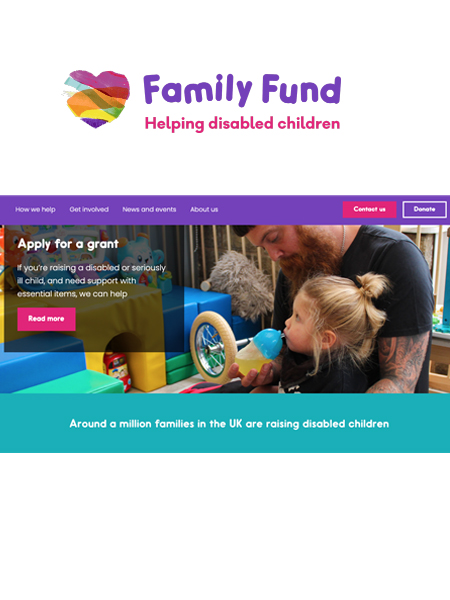 Family fund logo and image of father and daughter