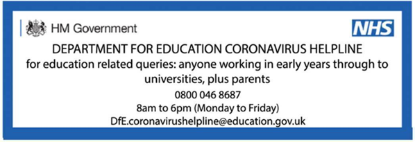 Education phone line for COVID