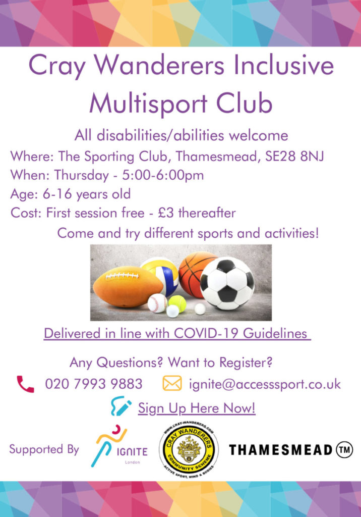 Flyer for multi-sports in Thamesmead