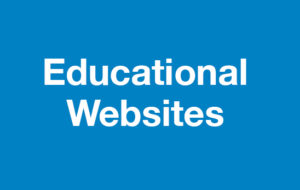 Educational websites on blue background