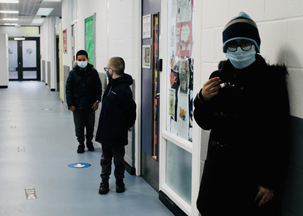 social distance of students in a hall