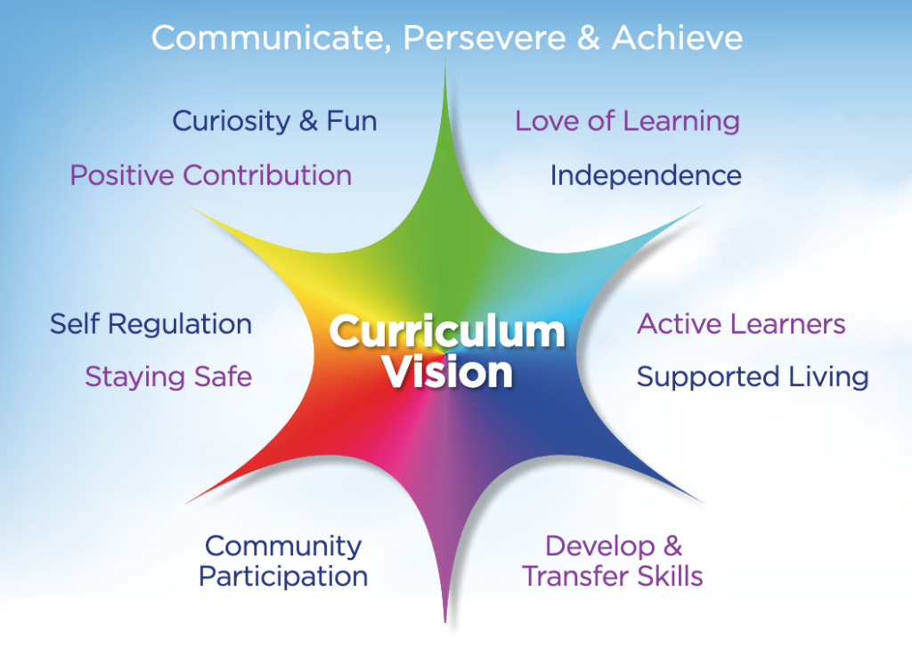 Curriculum graphic of colour and educational text