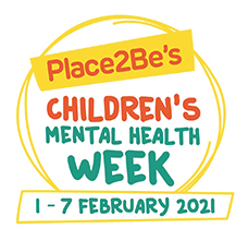 Yellow circle logo with text children's mental health week