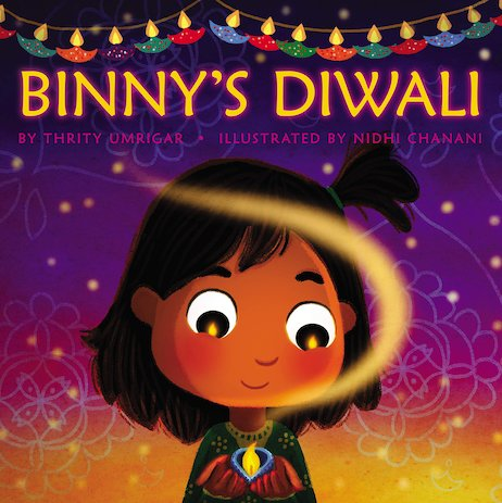 Cover of picture book for diwali of a child smiling