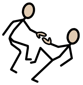 Widget symbol for help with stick person helping another