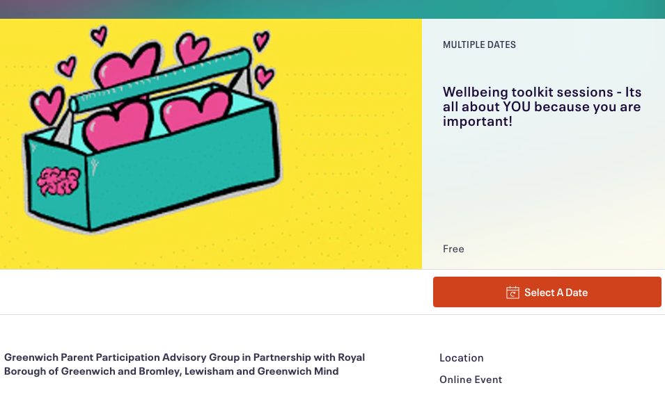 Wellbeing Toolkit session eventbrite screen grab
