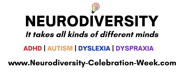 neurodiversity text with multicoloured text