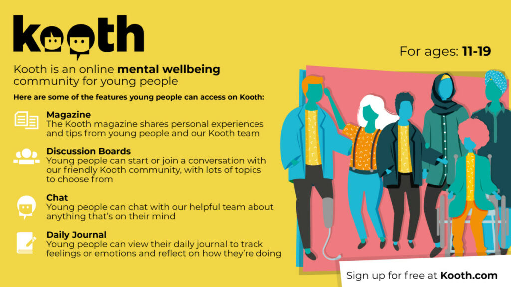Yellow graphic with people advertising mental wellbeing