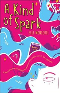 Pink and blue book cover - title A kind of spark