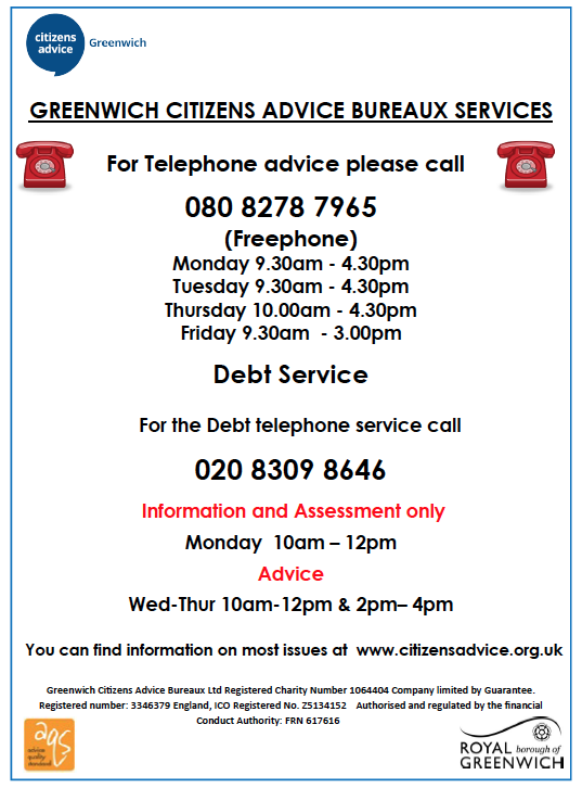 a leaflet with information about debt advice